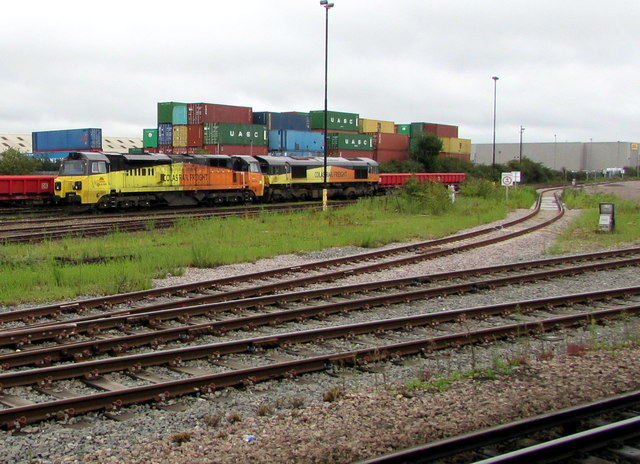 Colas Rail Freight locomotives and a stack of freight containers, Eastleigh