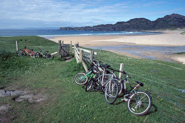 Bicycles parked at Kiloran Bay