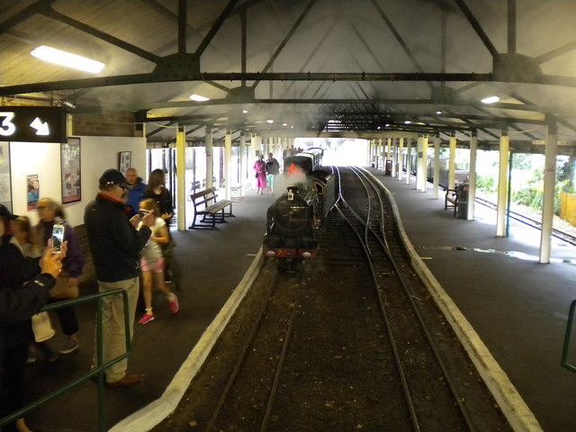 Locomotive running round train, Hythe station