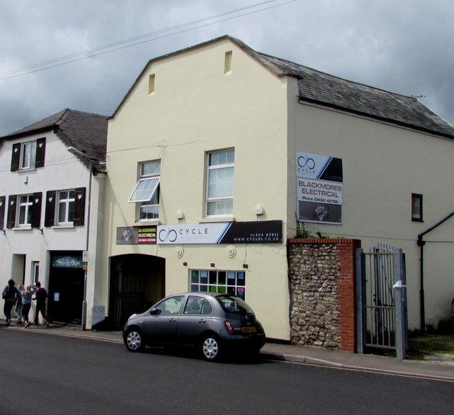 King Street cycle shop and Blackmores Electrical, Honiton