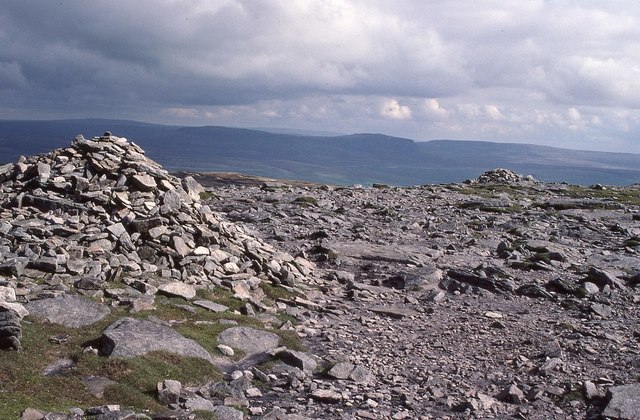 Cairns on the summit plateau of Ingleborough