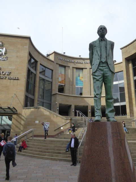 Donald Dewar statue in front of Glasgow Royal Concert Hall
