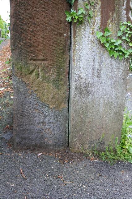 Benchmark on gatepost beside footpath from Graham Street