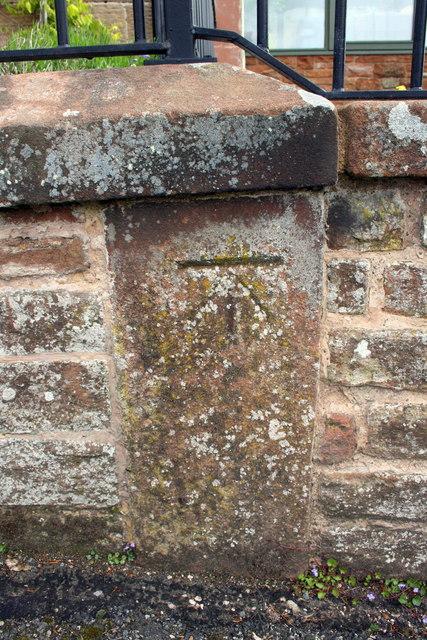 Benchmark on wall outside 'Blencathra', Graham Street