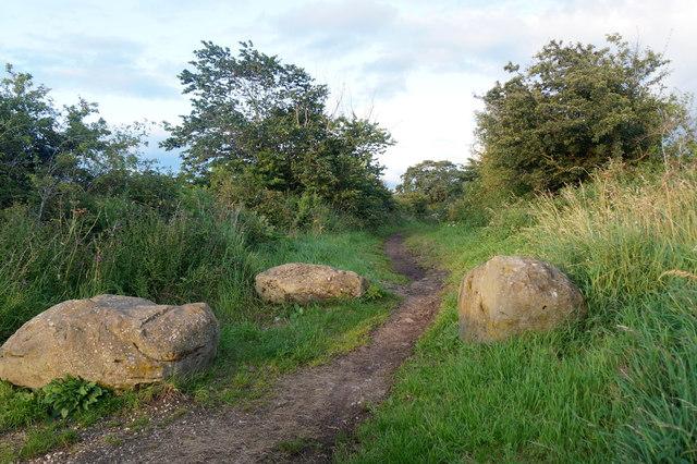 Rocks blocking a track on Falside Hill, near Wallyford