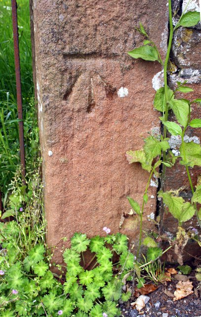 Benchmark on gatepost at Salkeld Road entrance to Fair Hill