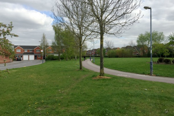 Open space by Ophelia Drive, Warwick Gates estate, Heathcote, south Leamington