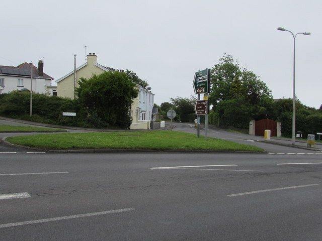 Grass triangle in the middle of a Tenby junction