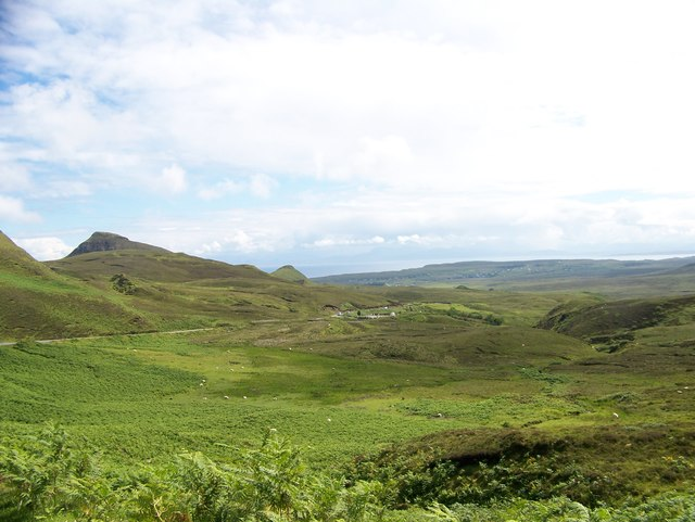 Looking east from  the Quiraing road towards the cemetery