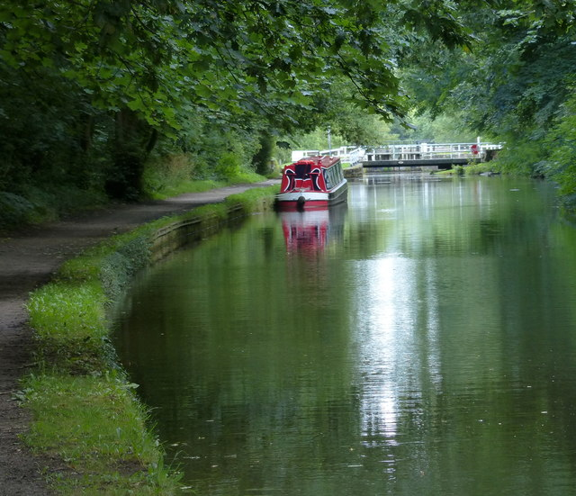 Narrowboat moored on the Leeds and Liverpool Canal