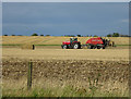 TL4264 : Baling straw by the busway by Hugh Venables