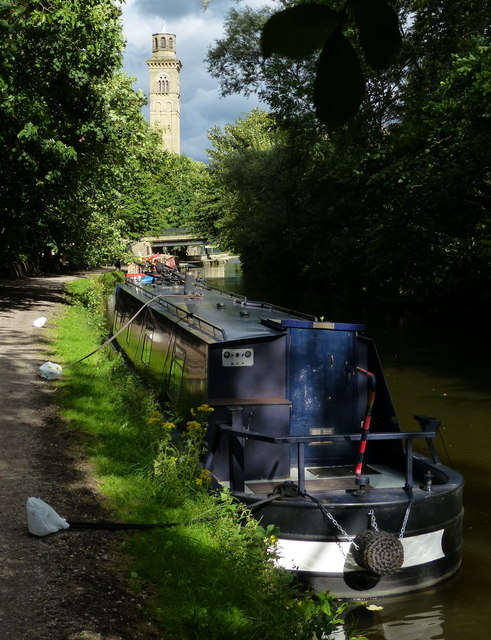 Narrowboats moored along the Leeds and Liverpool Canal