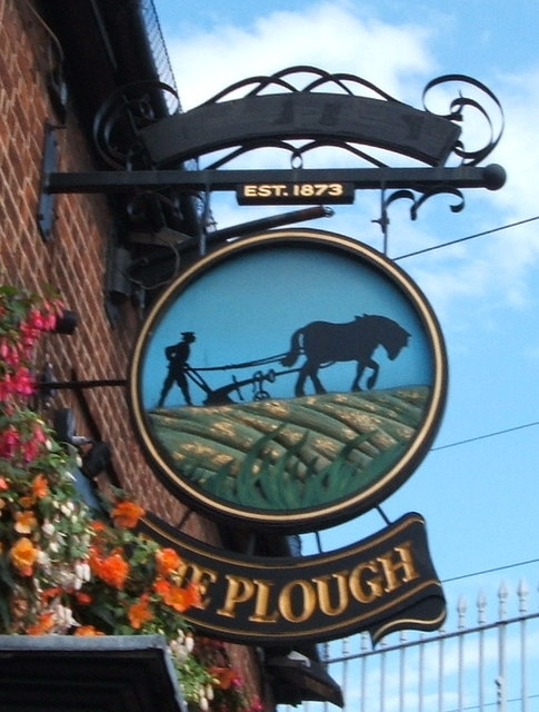 Sign for the Plough public house, Chelmsford