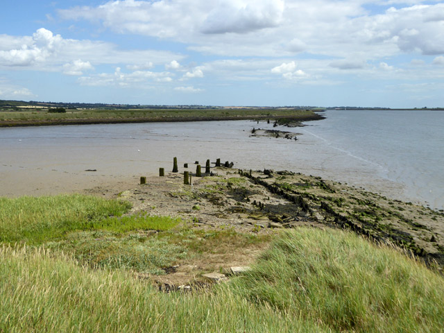 Remains of old sea wall, Bluehouse Farm, North Fambridge