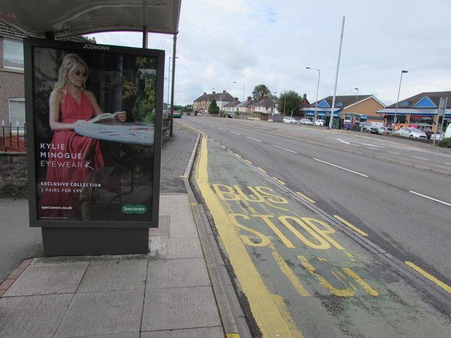 Kylie Minogue Eyewear advert on a Malpas Road bus shelter, Newport