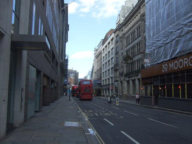 Bus stop on Moorgate, London