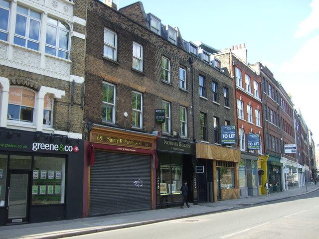 Shops on Clerkenwell Road, London