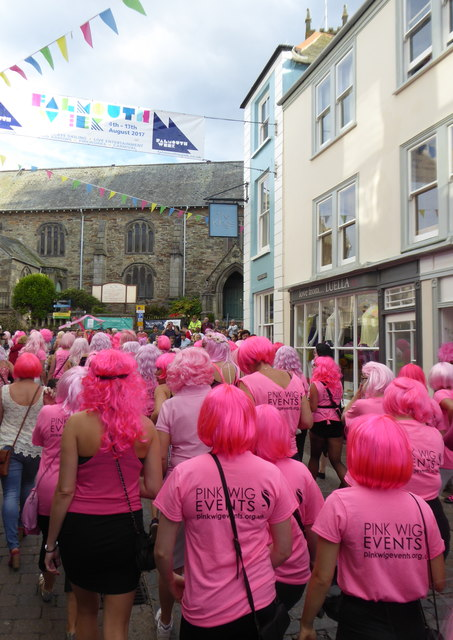 The 'Pink Wig' parade approaching King Charles's Church