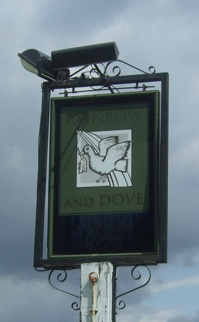 Sign for the Rainbow and Dove public house, Hastingwood