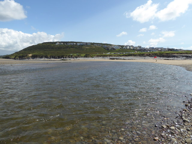 The river meets the beach at Ogmore-by-Sea