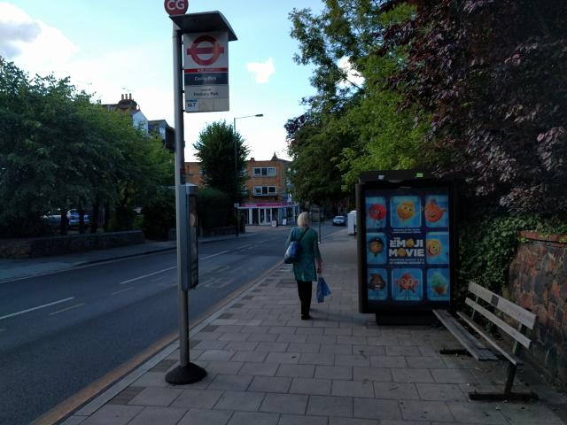 Cecile Park bus stop, looking north