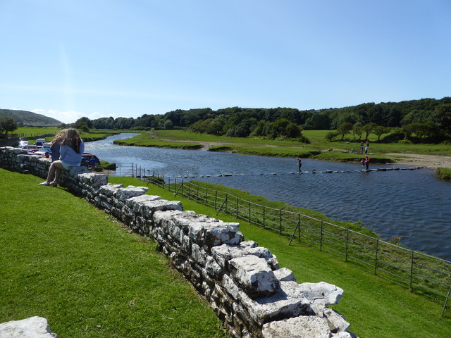Stepping stones beside Ogmore Castle