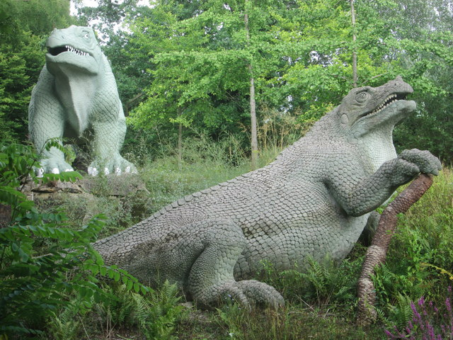 Iguanodon sculptures in Crystal Palace Park