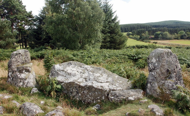 Clune Wood recumbent stone and flankers