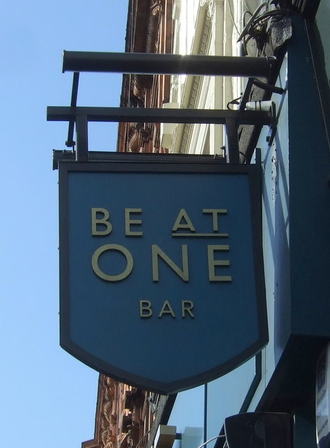 Sign for the Be At One Bar, Islington