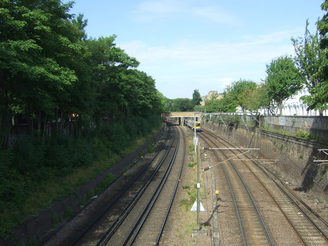 Railway looking west from the bridge on Mildmay Park, London N1
