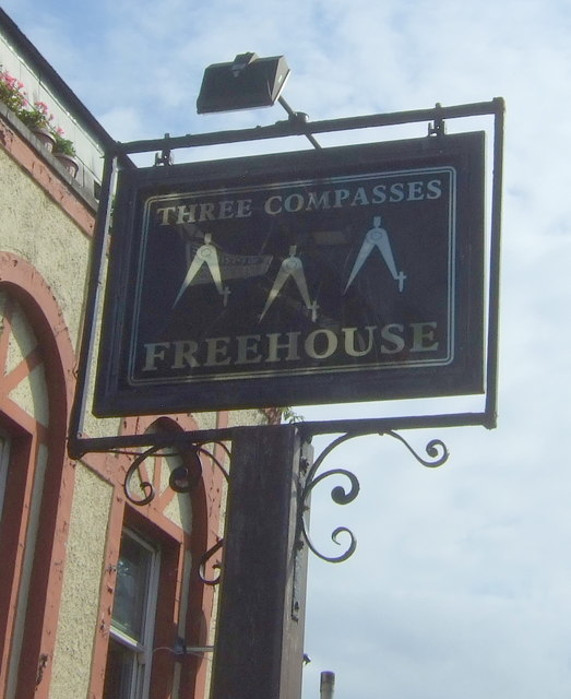 Sign for the Three Compasses public house, Hackney
