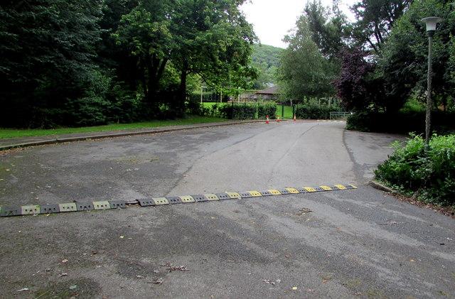 Speed bump across the entrance road to Llantilio Pertholey Primary School, Mardy