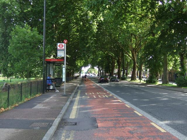 Bus stop and shelter on Lea Bridge Road, London E5