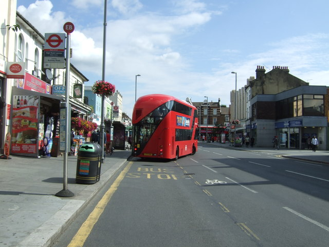 Bus stop on Lea Bridge Road (A104)