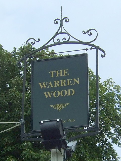 Sign for the Warren Wood public house