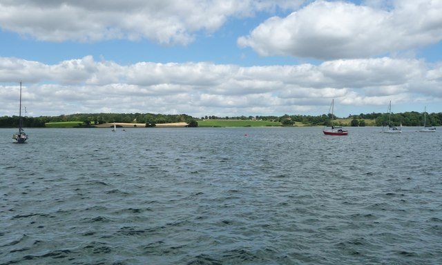 Boats moored in Downham Reach, River Orwell