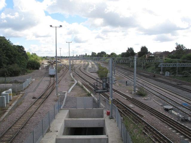 Acton crossrail diveunder, view East 2017