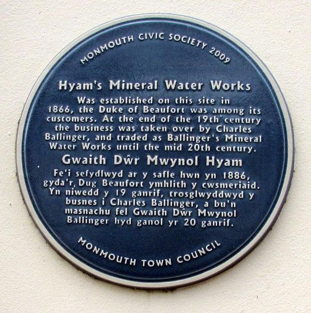 Hyam's Mineral Water Works blue plaque, Glendower Street, Monmouth