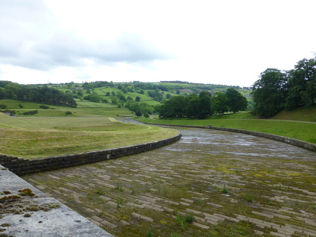 The spillway on the Swinsty Embankment
