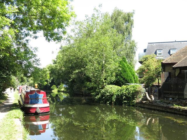 The Grand Union Canal north of the Rockingham Road bridge (no.186)