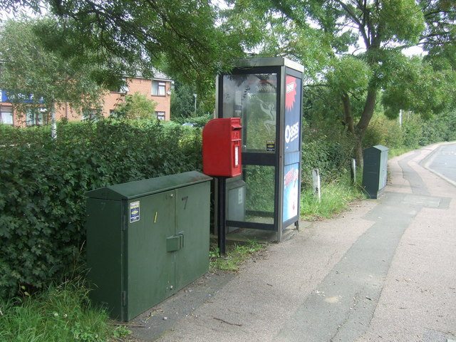 Elizabeth II postbox and telephone box on High Road, Bell Common