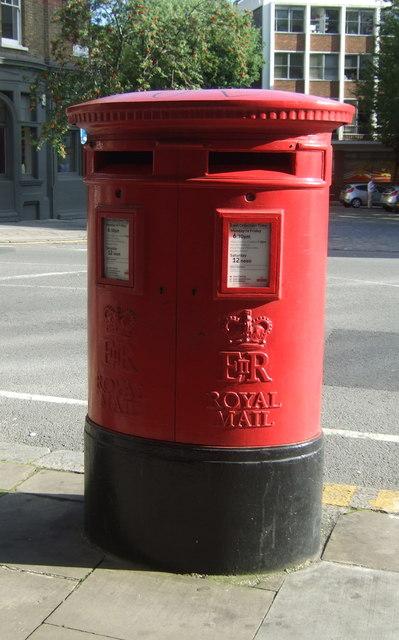 Double aperture Elizabeth II postbox on Clerkenwell Road, London EC1