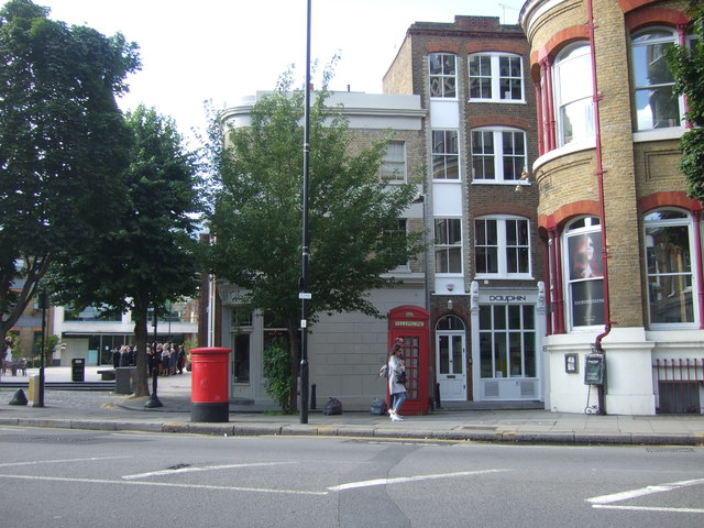 Double aperture Elizabeth II postbox and telephone box on Clerkenwell Road, London EC1