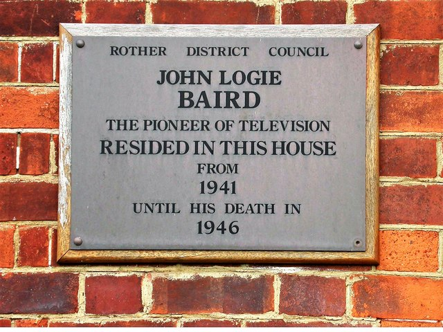 John Logie Baird plaque on house where he lived in Bexhill