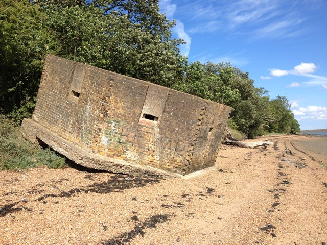 Derelict Pillbox on the bank of the River Medway, near Upnor