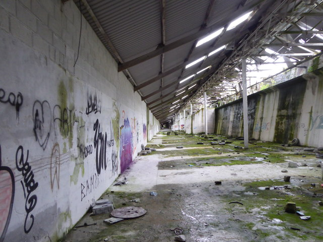Interior of the derelict china clay dry at Wenford Dries