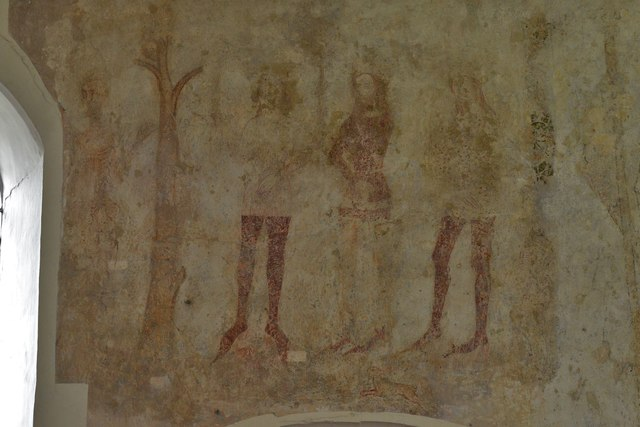 Seething, St. Margaret and St. Remigius Church: The Three Living and Three Dead medieval wall painting