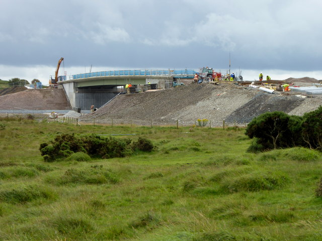 Bridge construction over the A30 at Temple