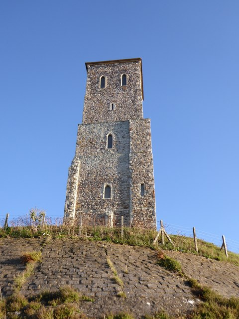 Reculver: the north tower, seen from the beach