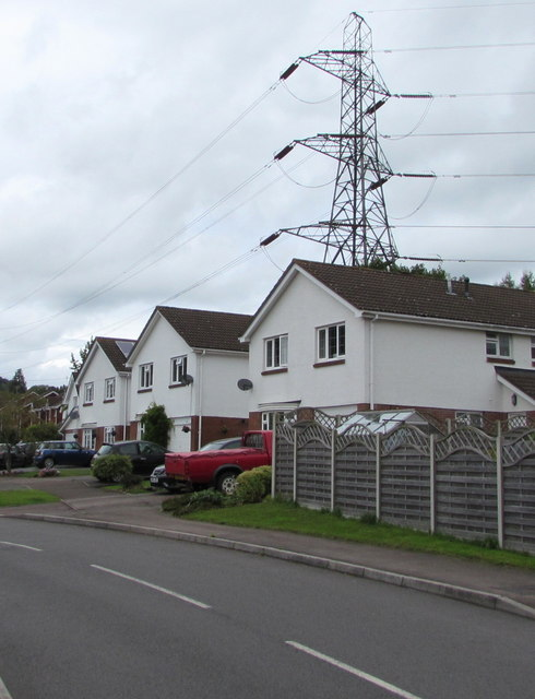 Greystones Avenue houses and an electricity pylon, Mardy